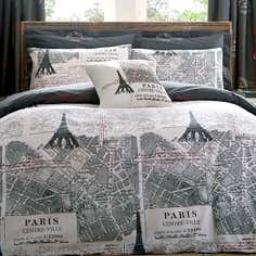Charcoal La Tour Eiffel Bedlinen Collection