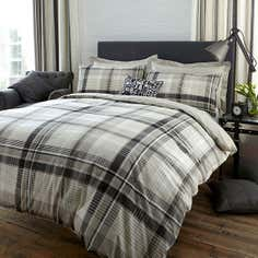 Grey Salvage Check Bed Linen Collection