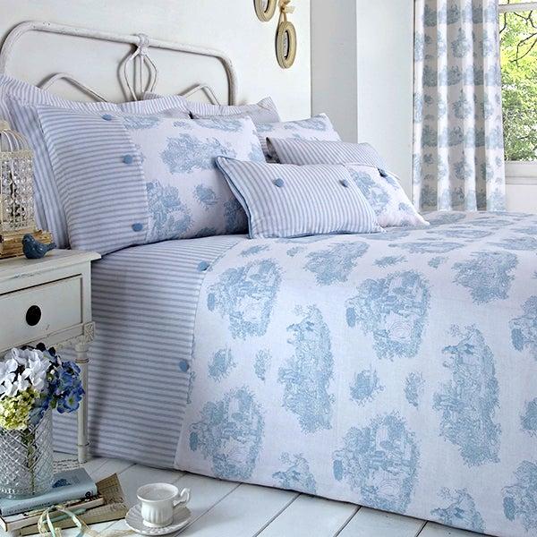 Blue Toile de Jouy Bed Linen Collection