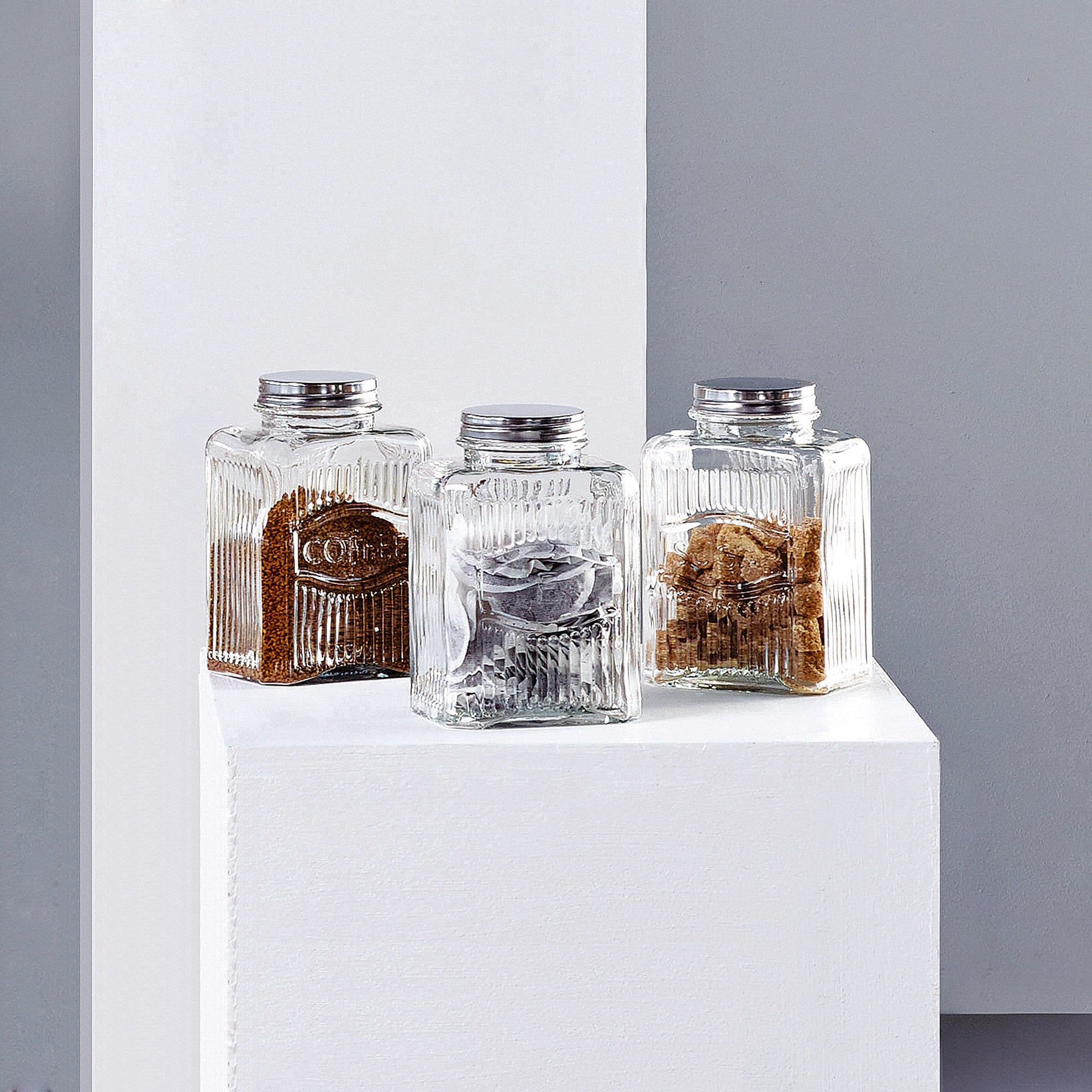 Embossed Glass Kitchen Canister Collection