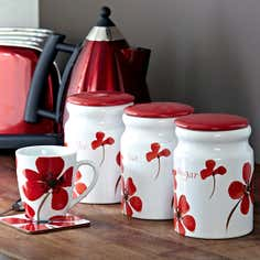 Red Painted Poppy Kitchen Canister Collection