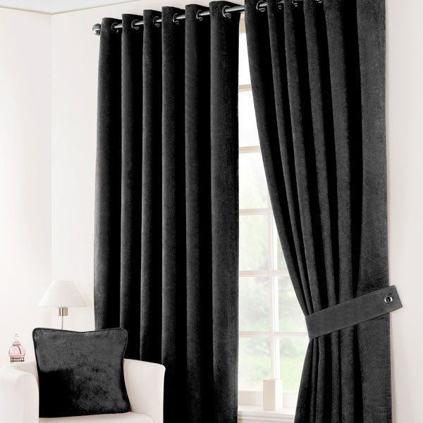 Black Suede Blackout Curtain Collection
