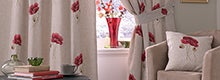 Red Vintage Poppy Curtain Collection