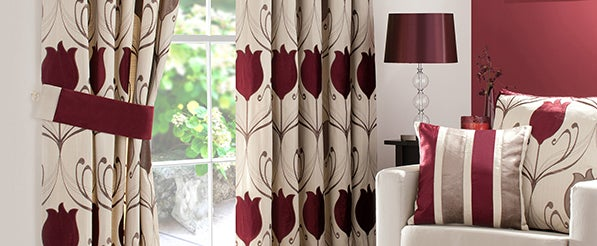 Wine Lalique Pencil Pleat Curtain Collection