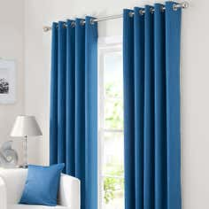 Waters and Noble Blue Solar Eyelet Curtain Collection
