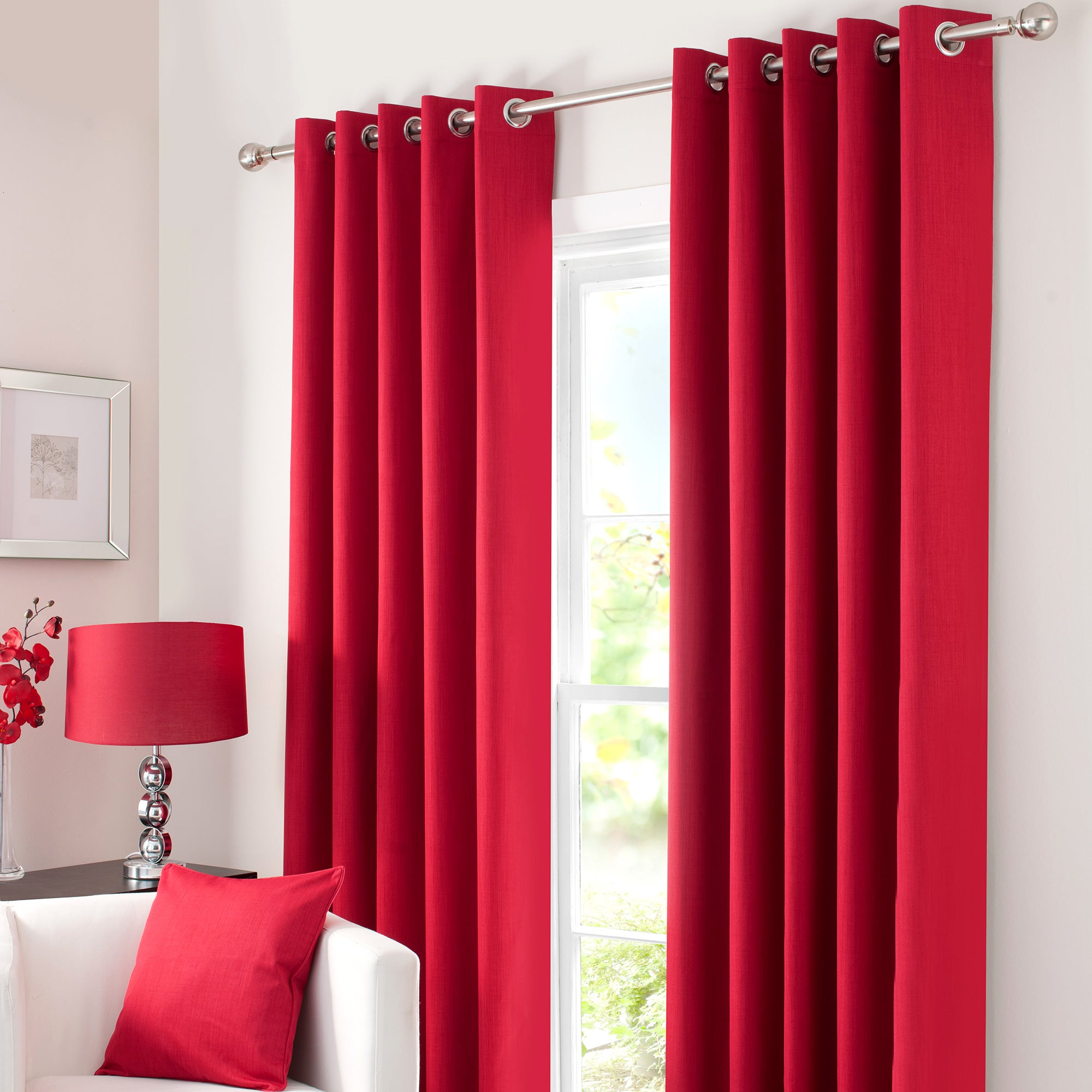 Waters and Noble Red Solar Eyelet Curtain Collection