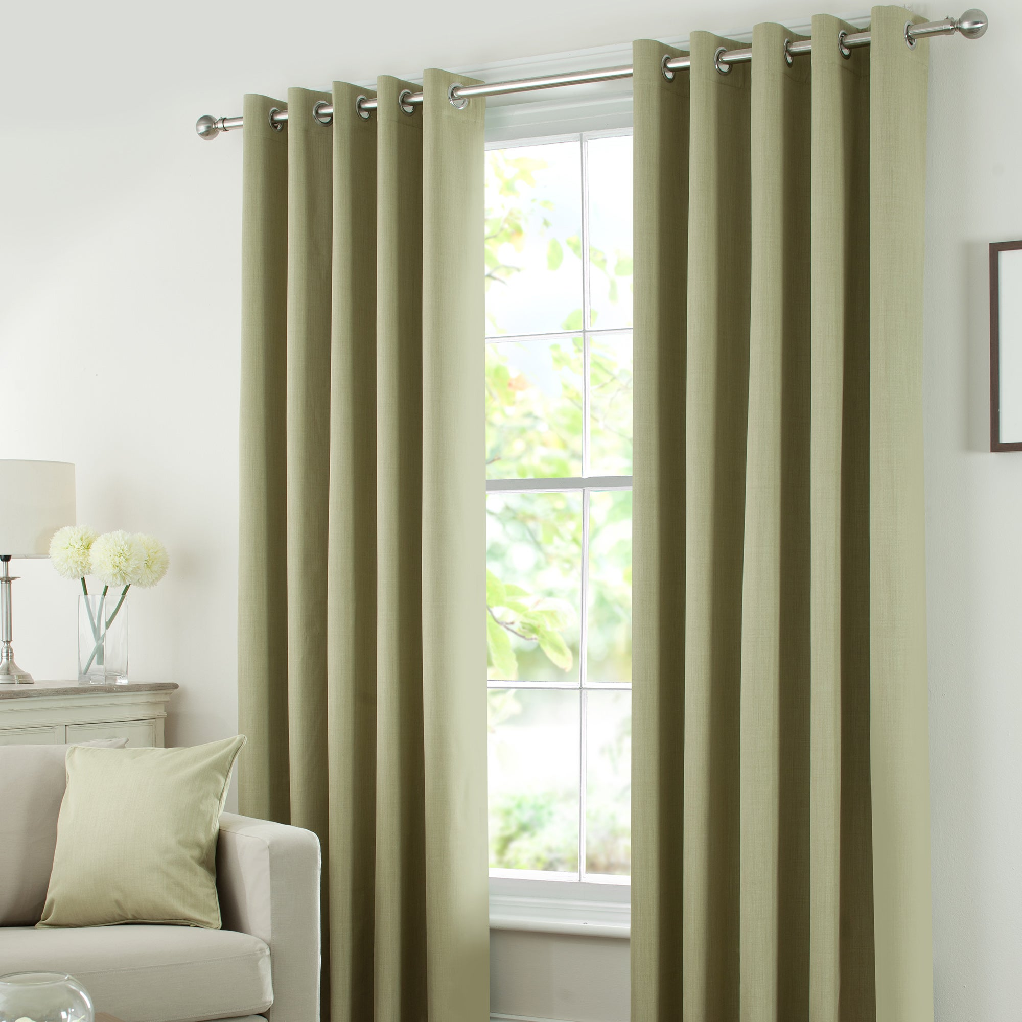 Waters and Noble Green Solar Eyelet Curtain Collection