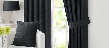 Black Chenille Pencil Pleat Curtain Collection