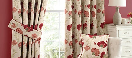 Red Poppy Chenille Curtain Collection Dunelm