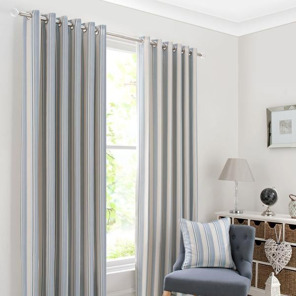 Blue Holkholm Stripe Curtain Collection