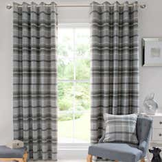 Dove Grey Highland Check Curtain Collection