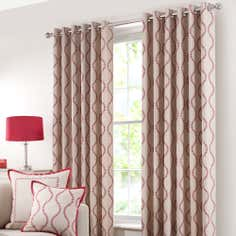 Red Trailing Petal Eyelet Curtain Collection