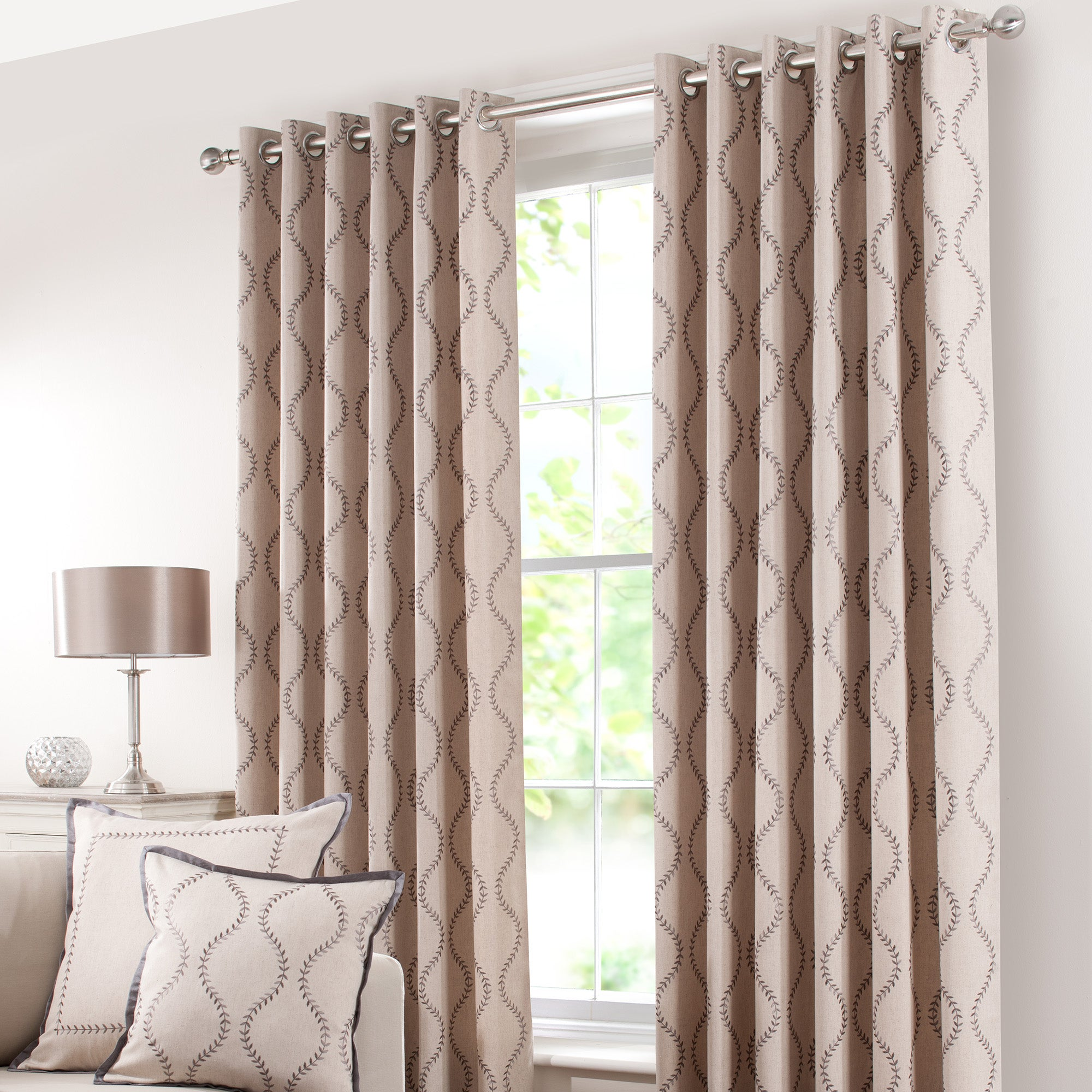 Mink Trailing Petal Eyelet Curtain Collection