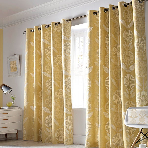 Soft Ochre Annika Lined Eyelet Curtain Collection