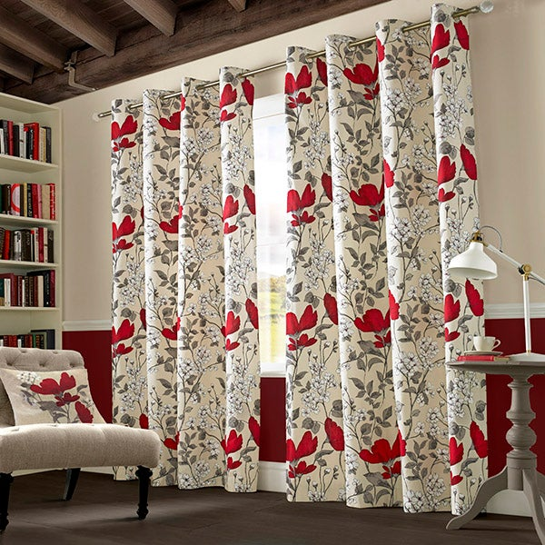 Red Poppyfields Lined Eyelet Curtain Collection