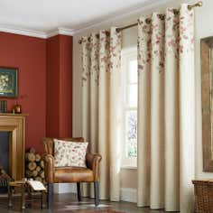 Natural Autumn Leaves Lined Eyelet Curtain Collection
