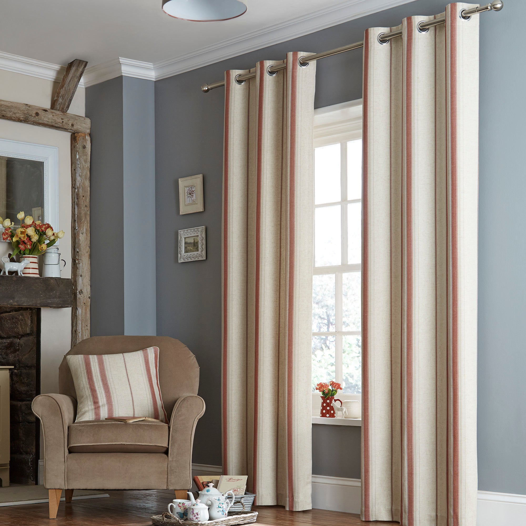 Red Country Stripe Lined Eyelet Curtain Collection