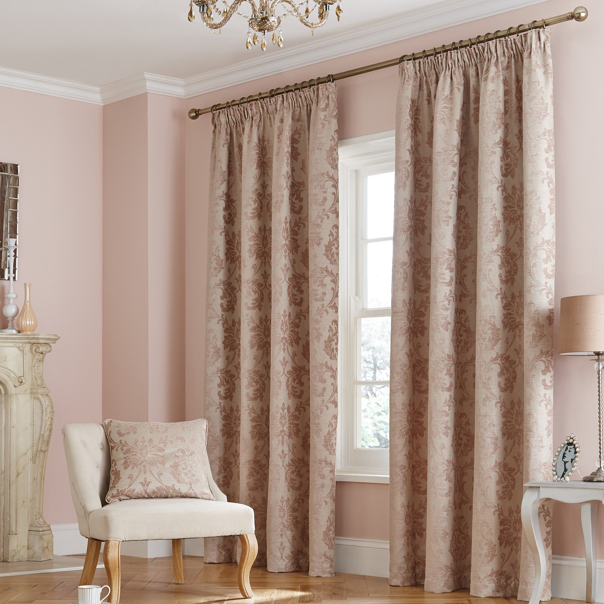 Blush Florence Lined Pencil Pleat Curtain Collection