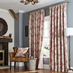 Red Genevieve Lined Pencil Pleat Curtain Collection