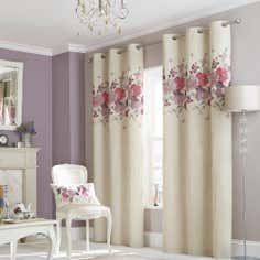 Plum Hermione Lined Eyelet Curtain Collection