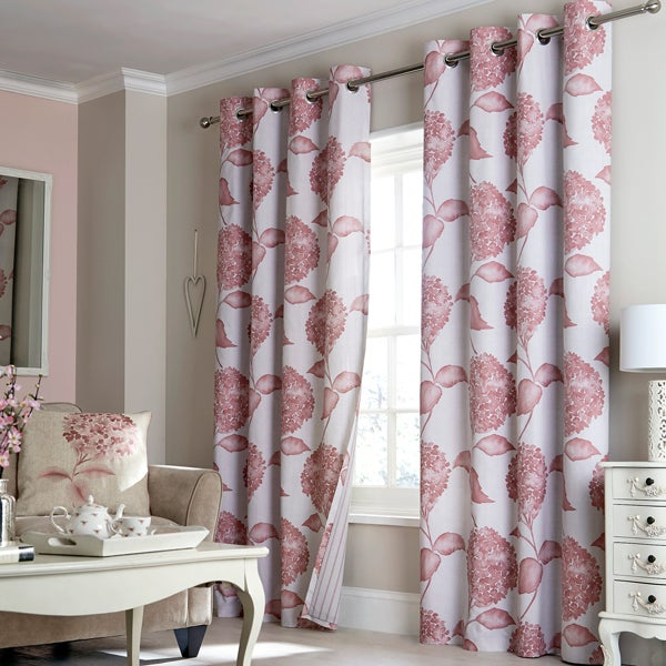 Blush Hydrangea Lined Eyelet Curtain Collection