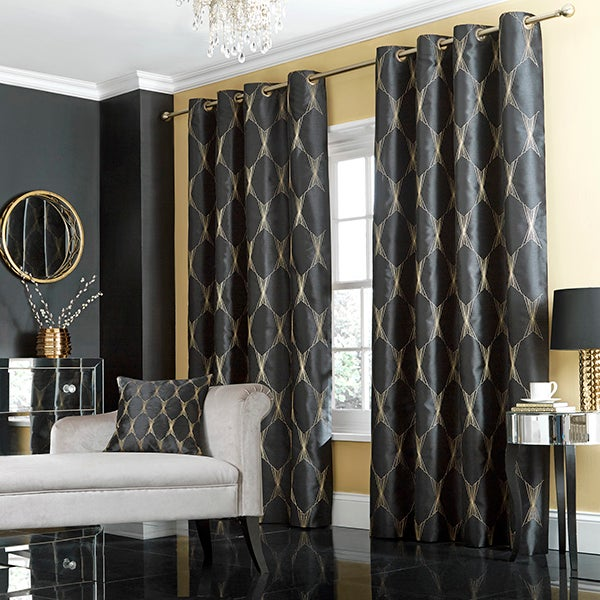 Black Jazz Lined Eyelet Curtain Collection