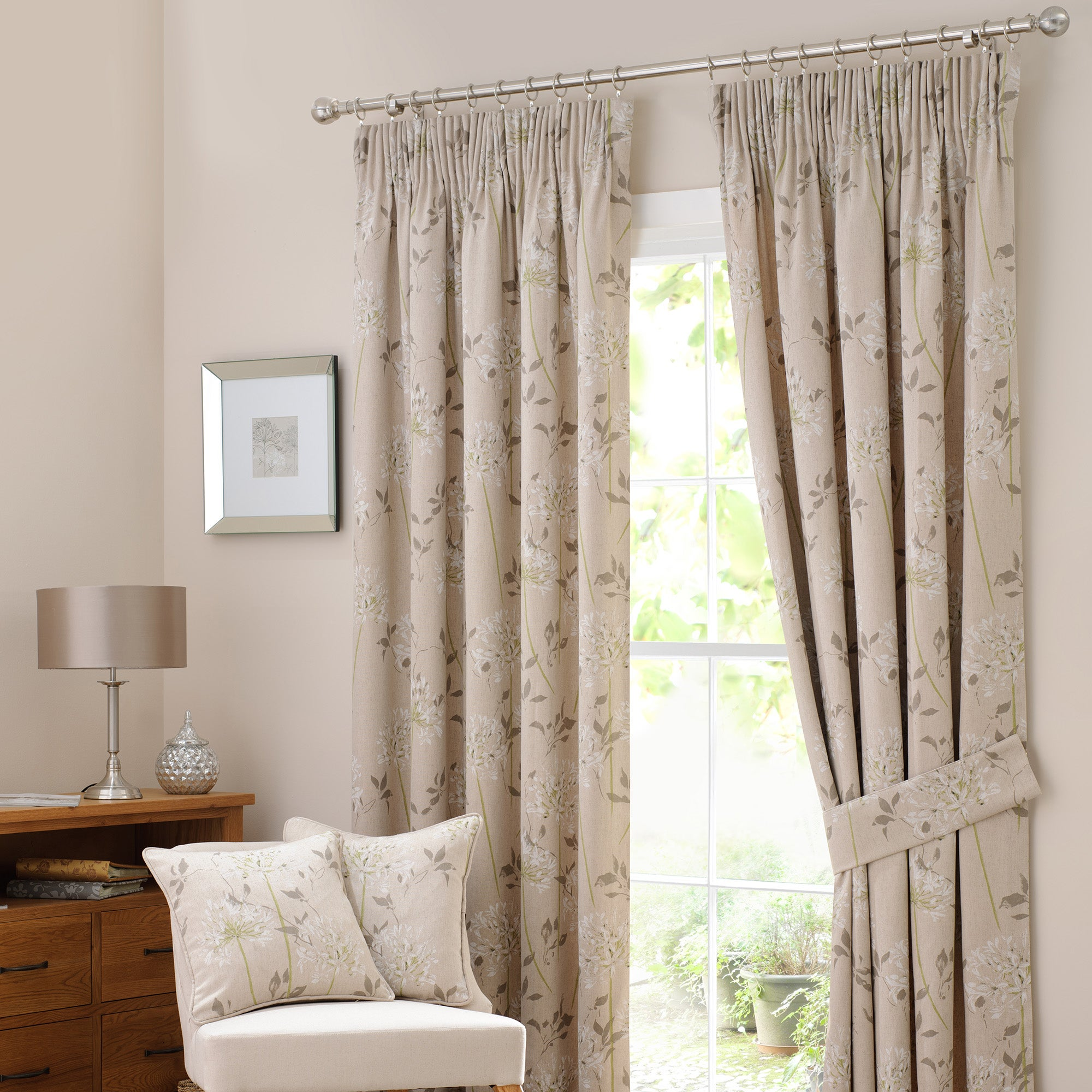 Linen Agapanthus Lined Pencil Pleat Curtain Collection