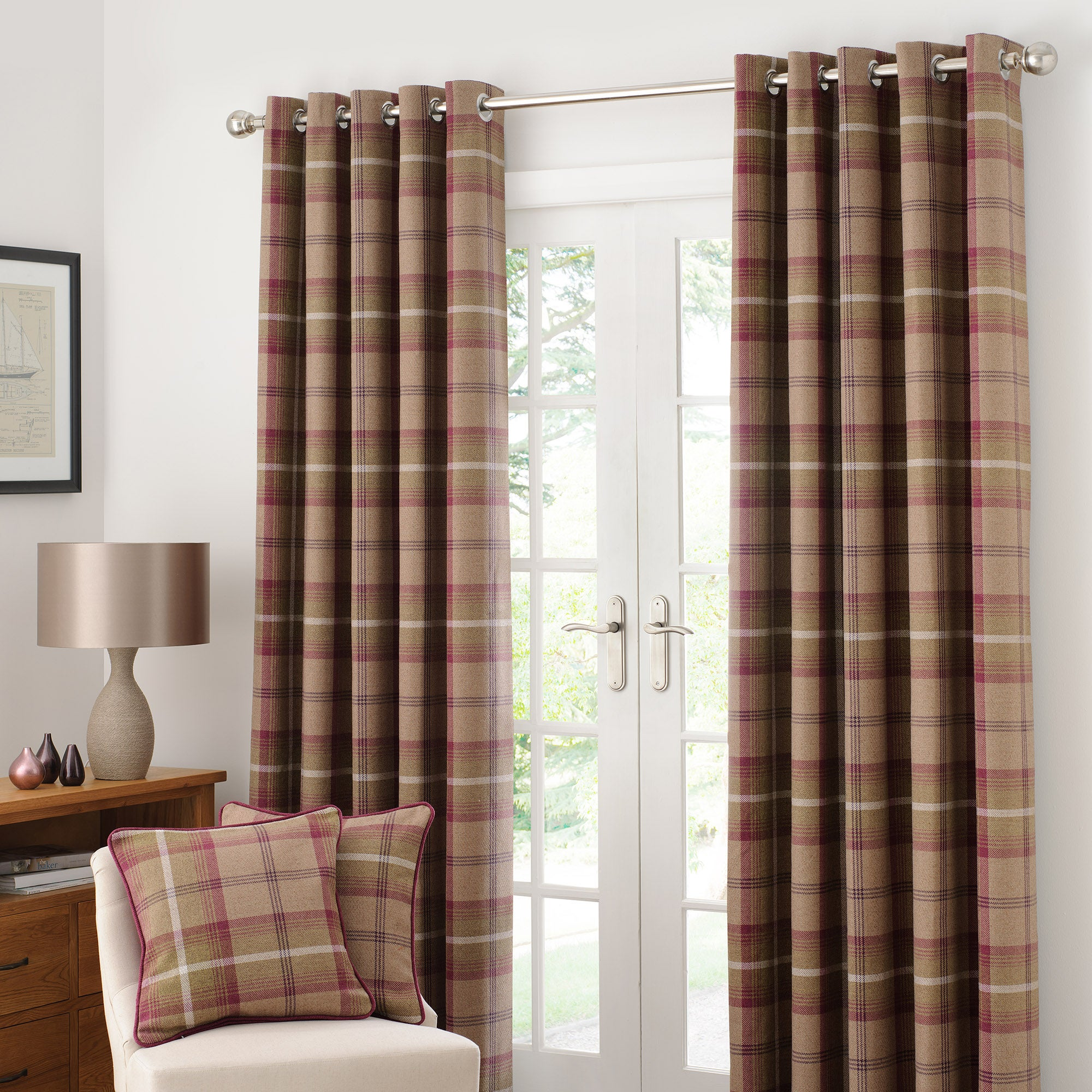 Plum Highland Check Lined Eyelet Curtain Collection