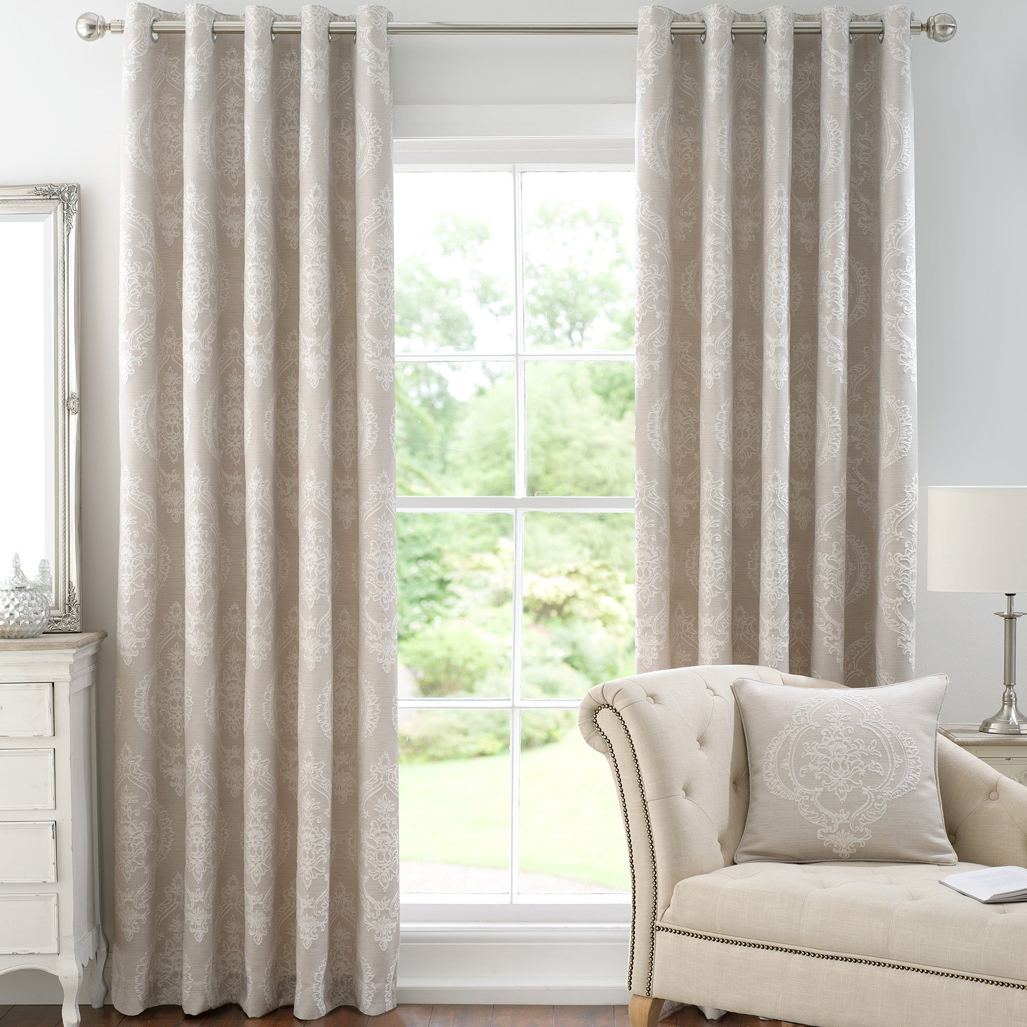 Linen Seraphina Lined Eyelet Curtains Collection