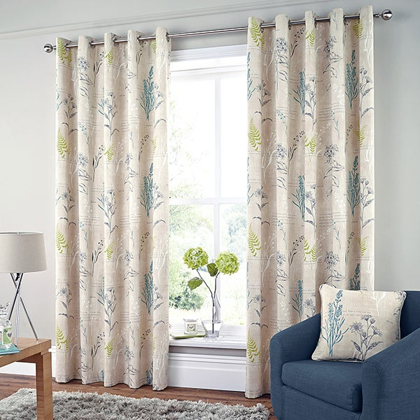 Green Meadow Lined Eyelet Curtain Collection