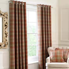 Rust Highland Check Lined Eyelet Curtain Collection