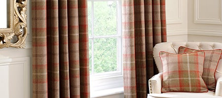 Rust Highland Check Lined Eyelet Curtain Collection Dunelm