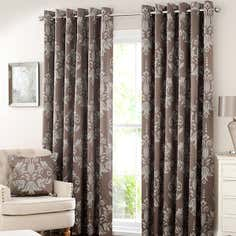 Mink Metallic Damask Lined Eyelet Curtain Collection