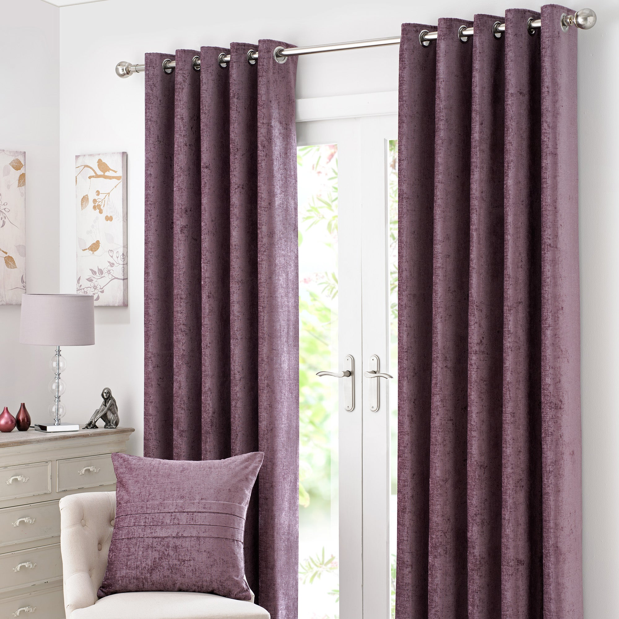 Mauve Chenille Lined Eyelet Curtain Collection