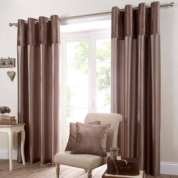 Mocha Opulence Lined Eyelet Curtain Collection