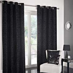 Black Manhattan Flock Lined Eyelet Curtain Collection