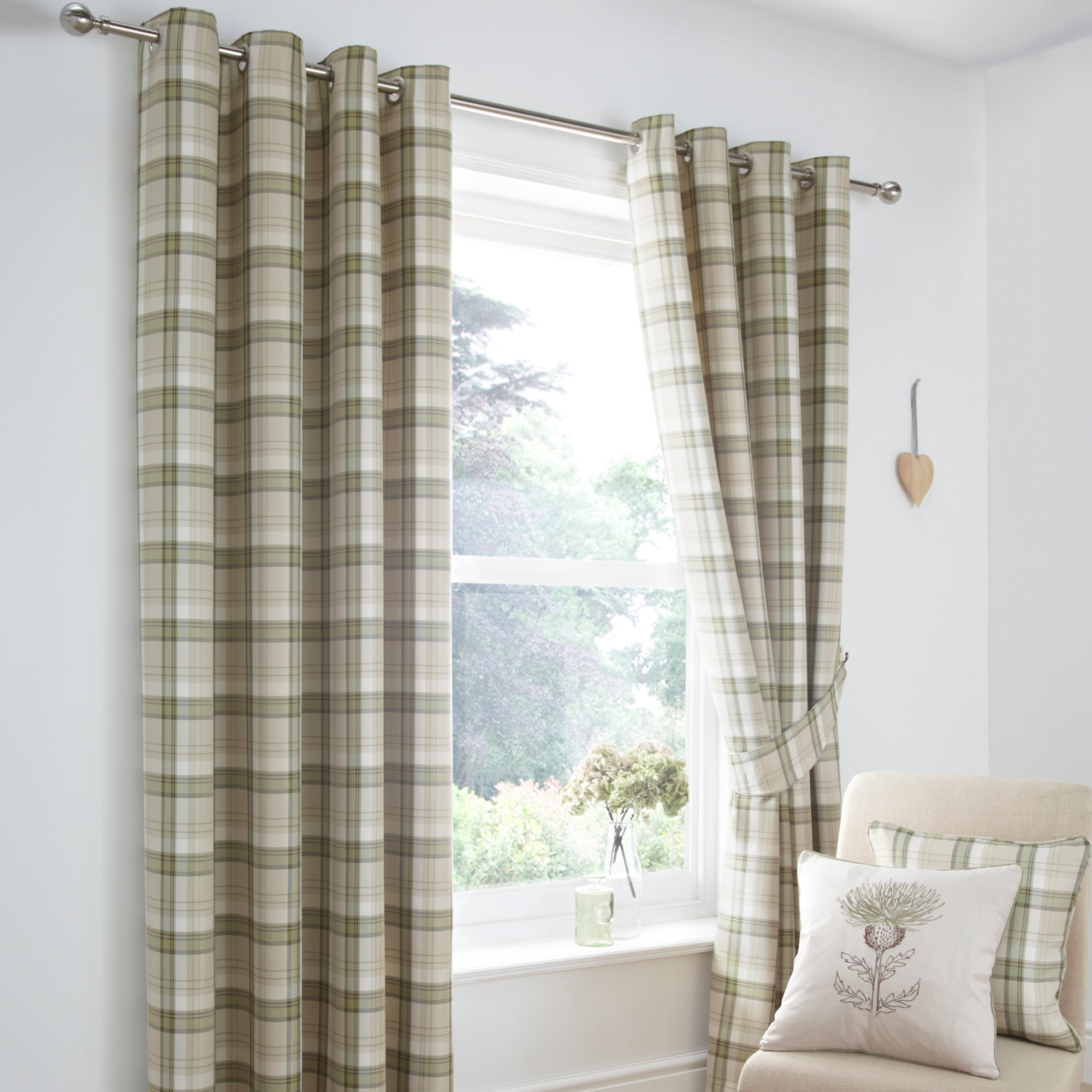 Green Balmoral Lined Eyelet Curtain Collection