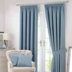 Blue Solar Blackout Pencil Pleat Curtain Collection