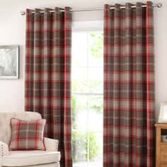 Red Highland Check Lined Eyelet Curtain Collection