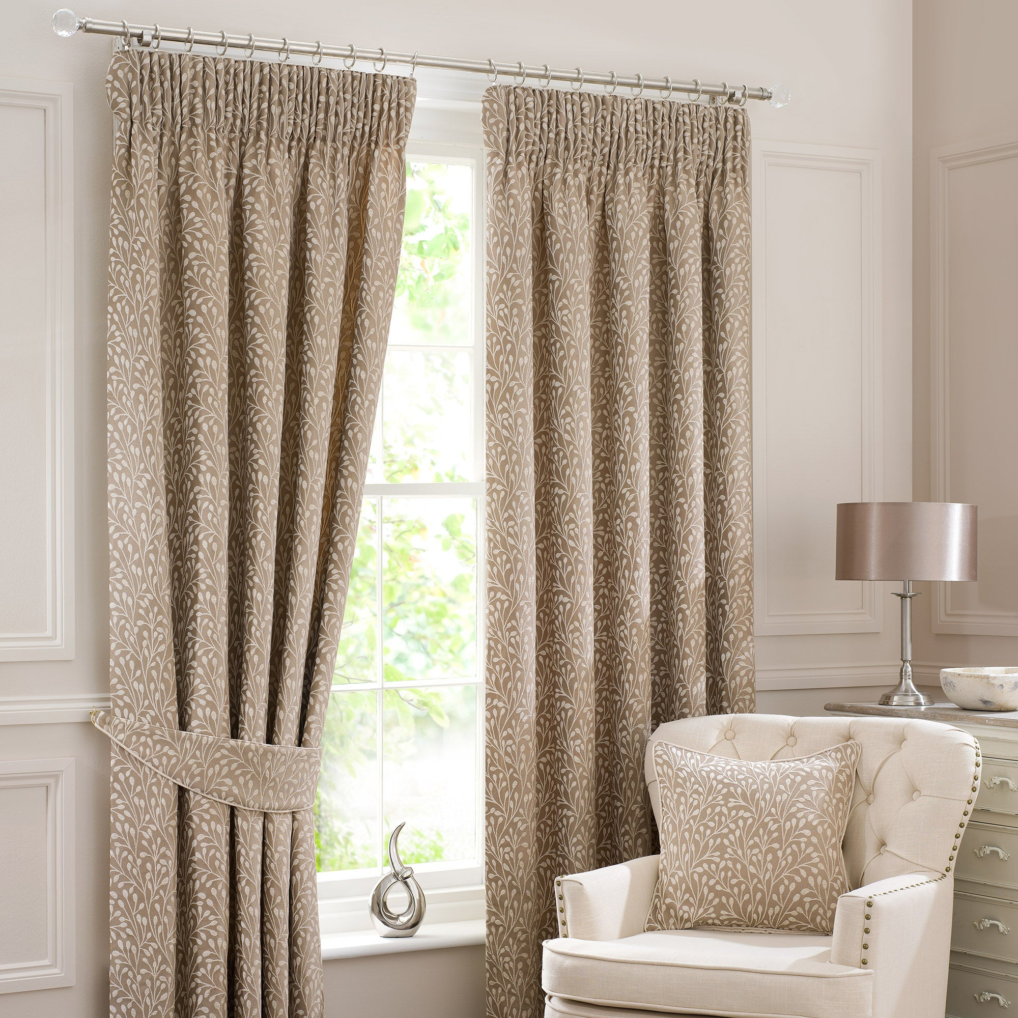 Cream Willow Lined Pencil Pleat Curtain Collection