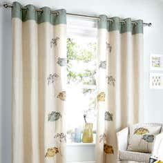 Teal Carmela Lined Eyelet Curtain Collection