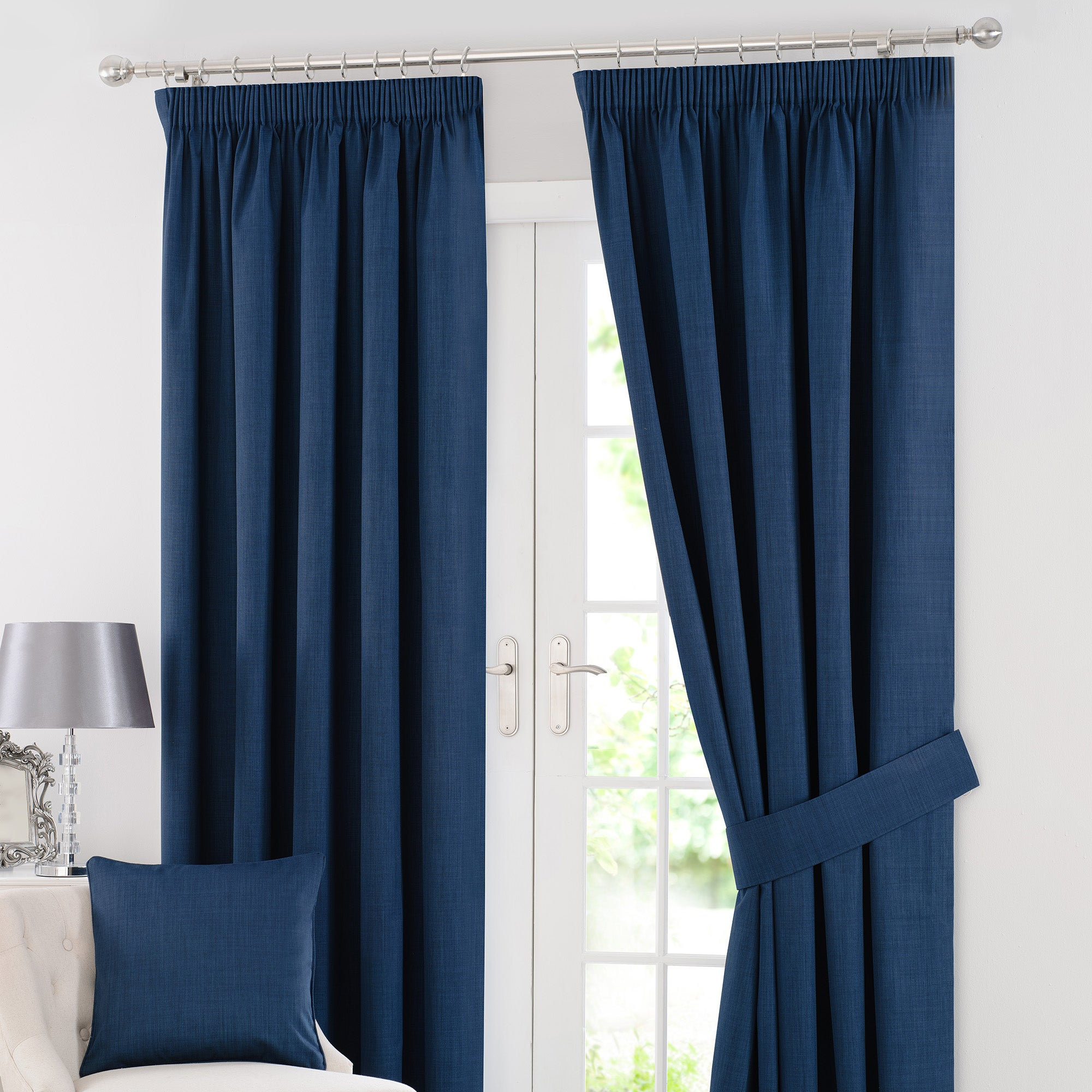 Navy Solar Blackout Pencil Pleat Curtain Collection
