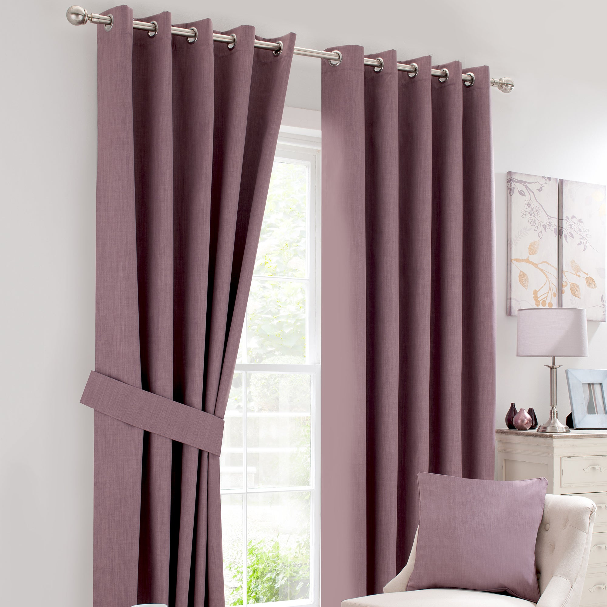 Mauve Solar Blackout Eyelet Curtain Collection