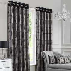 Black Charleston Eyelet Curtain Collection