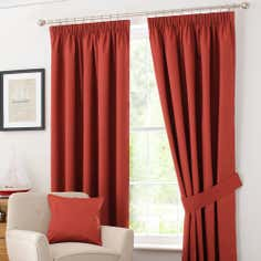 Rust Solar Blackout Pencil Pleat Curtain Collection