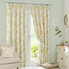 Ochre Primrose Pencil Pleat Curtain Collection