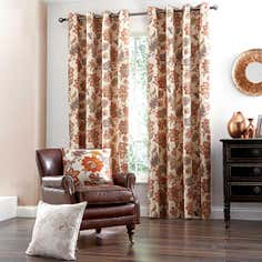 Natural Jacobean Eyelet Curtain Collection