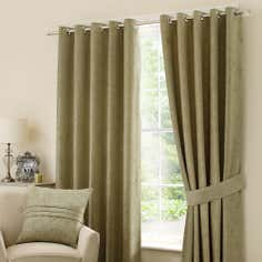 Green Chenille Eyelet Curtain Collection