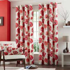 Red Painterley Poppy Eyelet Curtain Collection