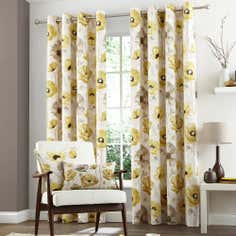 Yellow Painterley Poppy Eyelet Curtain Collection